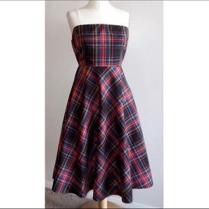 Plaid silk taffeta holiday party dress- J. Crew
